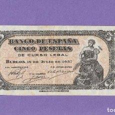 Notas espanholas: 5 PESEATS DE 1937 SERIE-B MUY ESCASO EBC. Lote 236825385