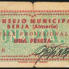 Billetes españoles: BERJA (ALMERIA). 1 PESETA. (1938CA). SERIE B. INUSUAL. BC. GUERRA CIVIL. Lote 237146825