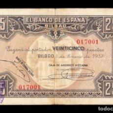 Notas espanholas: ESPAÑA GUERRA CIVIL 25 PESETAS BILBAO 1937 PICK S563G BC/+ F+. Lote 237467770