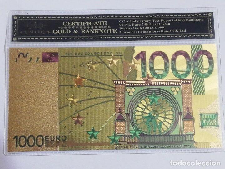 BILLETE 1000 EUROS EN LAMINA DORADA CON FUNDA (Numismática - Notafilia - Billetes Españoles)