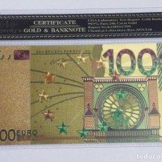 Billetes españoles: BILLETE 1000 EUROS EN LAMINA DORADA CON FUNDA. Lote 237519145