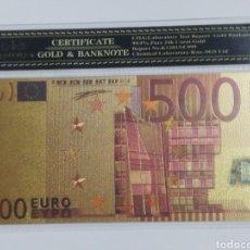 Billetes españoles: BILLETE 500 EUROS EN LAMINA DORADA CON FUNDA. Lote 262152725