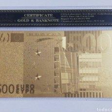 Billetes españoles: BILLETE 500 EUROS EN LAMINA DORADA CON FUNDA. Lote 262152775