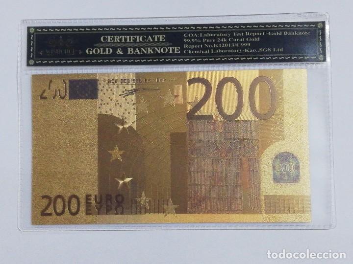 BILLETE 200 EUROS EN LAMINA DORADA CON FUNDA (Numismática - Notafilia - Billetes Españoles)