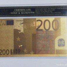 Billetes españoles: BILLETE 200 EUROS EN LAMINA DORADA CON FUNDA. Lote 237522190