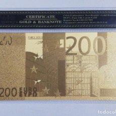 Billetes españoles: BILLETE 200 EUROS EN LAMINA DORADA CON FUNDA. Lote 237522380