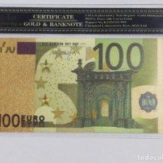 Billetes españoles: BILLETE 100 EUROS EN LAMINA DORADA CON FUNDA. Lote 237522610