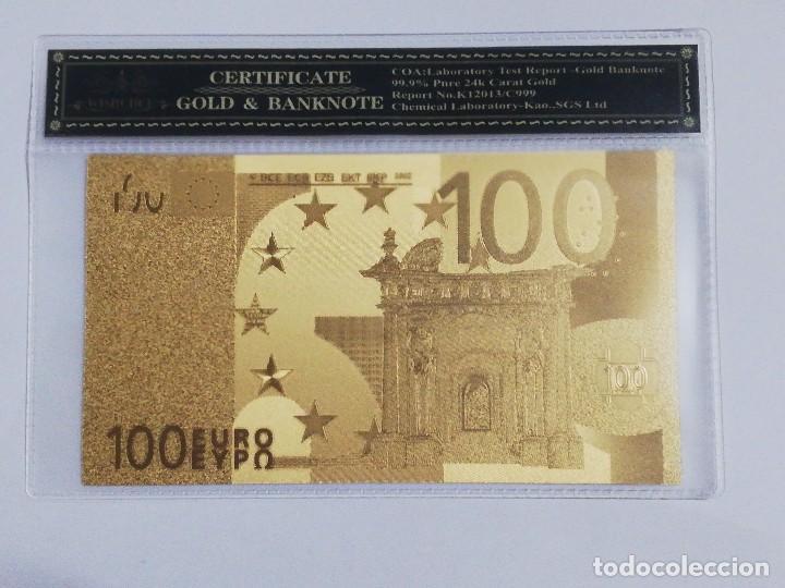 BILLETE 100 EUROS EN LAMINA DORADA CON FUNDA (Numismática - Notafilia - Billetes Españoles)