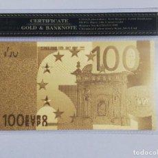 Billetes españoles: BILLETE 100 EUROS EN LAMINA DORADA CON FUNDA. Lote 237522815