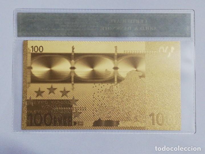 Billetes españoles: Billete 100 euros en lamina dorada con funda - Foto 2 - 237522815