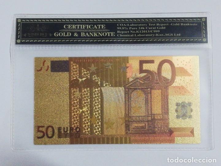 BILLETE 50 EUROS EN LAMINA DORADA CON FUNDA (Numismática - Notafilia - Billetes Españoles)