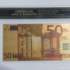 Billetes españoles: BILLETE 50 EUROS EN LAMINA DORADA CON FUNDA. Lote 262152750