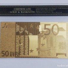 Billetes españoles: BILLETE 50 EUROS EN LAMINA DORADA CON FUNDA. Lote 237523360