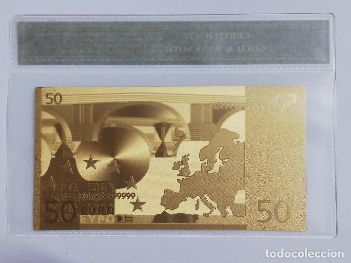 Billetes españoles: Billete 50 euros en lamina dorada con funda - Foto 2 - 237523360