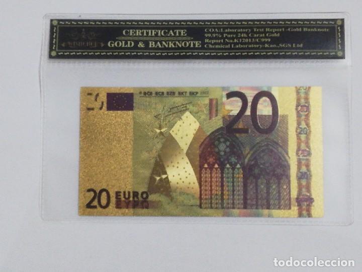BILLETE 20 EUROS EN LAMINA DORADA CON FUNDA (Numismática - Notafilia - Billetes Españoles)