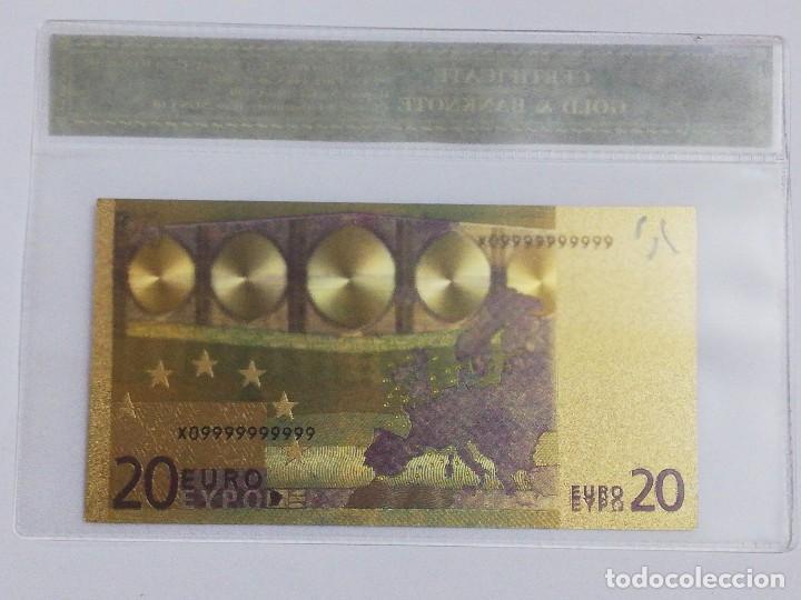 Billetes españoles: Billete 20 euros en lamina dorada con funda - Foto 2 - 237523670