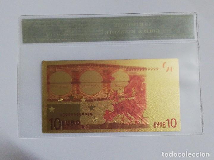 Billetes españoles: Billete 10 euros en lamina dorada con funda - Foto 2 - 237524605