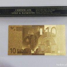 Billetes españoles: BILLETE 10 EUROS EN LAMINA DORADA CON FUNDA. Lote 237524855