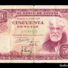 Notas espanholas: ESPAÑA 50 PESETAS SANTIAGO RUSIÑOL 1951 PICK 141 SERIE A BC F. Lote 237829725