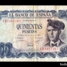 Notas espanholas: ESPAÑA 500 PESETAS VERDAGUER 1971 PICK 153 SERIE 1B BC F. Lote 237857085