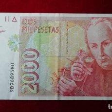 """Billetes españoles: BILLETE DE 2000 PTAS. 24 ABRIL 1992 - NUMERACIÓN ESPECIAL """"9B"""". Lote 238301395"""