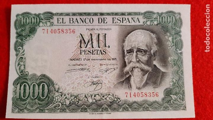 BILLETE 1000 PESETAS 1971 EBC++ SERIE 7I ORIGINAL T356 (Numismática - Notafilia - Billetes Españoles)
