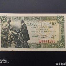 Billetes españoles: 5 PESETAS DE 1945....PRECIOSO......ES EL DE LAS FOTOS. Lote 239898245