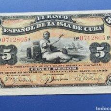 Billetes españoles: 5 PESOS 1896 CUBA. Lote 240433720