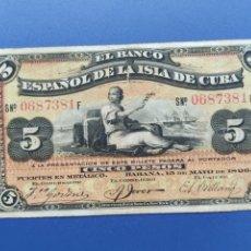 Billetes españoles: 5 PESOS 1896 CUBA. Lote 240434115
