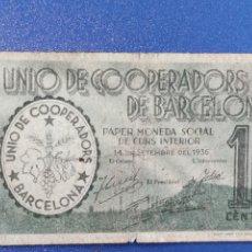 Billetes españoles: 10 CENTIMOS UNIÓ DE COOPERADORS DE BARCELONA 1936. Lote 240479910