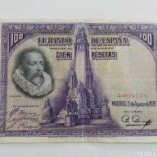 Billetes españoles: BILLETE 100 PESETAS CERVANTES 1928 SIN SERIE. Lote 240529005
