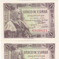 Billetes españoles: 2 BILLETES CONSECUTIVOS: 1 PESETA ( 15 JUNIO 1945 ) SIN SERIE / EXCELENTE CONSERVACION. Lote 241065105