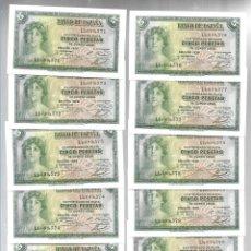 Billetes españoles: 11 BILLETES CORRELATIVOS DE 5 CINCO PESETAS AÑO 1935 SERIE L, CERTIFICADO DE PLATA, EBC+ S/C.. Lote 241409100