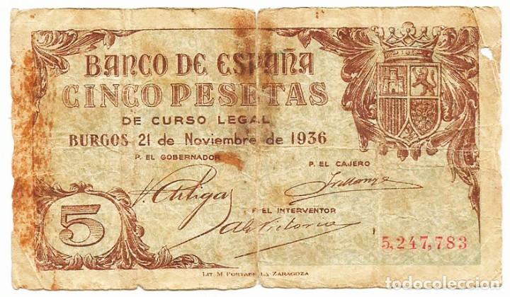 BILLETE DE 5 PESETAS DE 21 DE NOVIEMBRE DE 1936. BURGOS. MUY RARO.LOTE 1590 (Numismática - Notafilia - Billetes Españoles)
