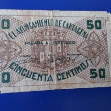 Billetes españoles: BILLETES LOCALES. AYUNTAMIENTO DE CARTAGENA. MURCIA. Lote 242085975