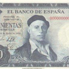 Billetes españoles: BILLETE FACSIMIL 145B - IGNACIO ZULOAGA Y VISTA DE TOLEDO - 500 PTAS - 22 JULIO 1954 - VALOR 950€. Lote 242912995