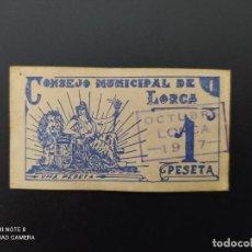 Billetes españoles: 1PTA DE 1937.. CONSEJO MUNICIPAL DE LORCA..SELLO OCTUBRE.. PRECIOSO.....ES EL DE LAS FOTOS.. Lote 243418160