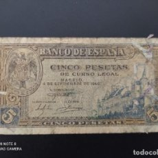 Billetes españoles: 5 PESETAS DE 1940...SERIE L.( MUY CIRCULADO PERO ENTERO)...ES EL DE LAS FOTOS.. Lote 243422195