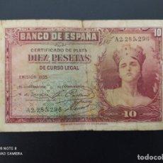 Billetes españoles: 10 PESETAS DE 1935.. SERIE A.( PEQUEÑAS ROTURAS).....ES EL DE LAS FOTOS.. Lote 243423720