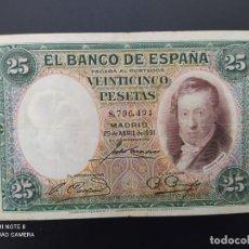 Billetes españoles: 25 PESETAS DE 1931..SIN SERIE ..( MUY BONITO)....ES EL DE LAS FOTOS.. Lote 243424425