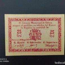 Notas espanholas: 25 CENTIMOS DE..1937.. CONSEJO MUNICIPAL DE TOTANA...SC.-..ES EL DE LAS FOTOS. Lote 243448485