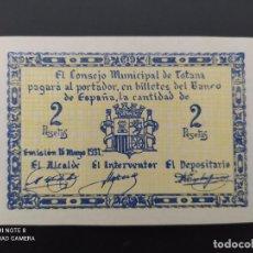 Notas espanholas: 2 PTAS DE..1937.. CONSEJO MUNICIPAL DE TOTANA...SC.-..ES EL DE LAS FOTOS. Lote 243449070