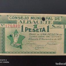 Notas espanholas: 1 PTA DE..1937.. CONSEJO MUNICIPAL DE ALBACETE.. PERFORADO.RARO..SC.-..ES EL DE LAS FOTOS. Lote 243449735