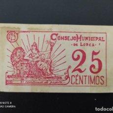 Notas espanholas: 25 CENTIMOS DE..1937.. CONSEJO MUNICIPAL DE LORCA.. -..ES EL DE LAS FOTOS. Lote 243449990