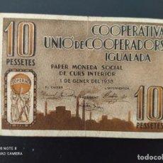 Notas espanholas: 10 PESETAS DE 1937... CONSEJO MUNICIPAL DE IGUALADA....ES EL DE LAS FOTOS. Lote 243451125