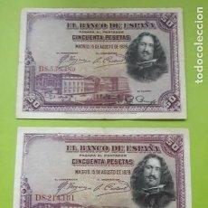 Notas espanholas: LOTE 2 BILLETES DE ESPAÑA. 50 PESETAS 1928. USADO.. Lote 237934400