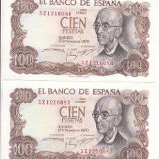 Billets espagnols: DD25- DOS BILLETES 100 PTAS FALLA 1970. NUMERACIÓN CONSECUTIVA. NUEVOS.. Lote 243568930