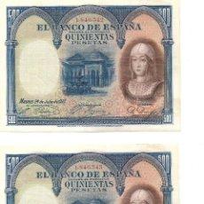 Billetes españoles: PAREJA DE BILLETES DE 500 PESETAS DE 1927, MBC, CORRELATIVOS. ISABEL LA CATOLICA. SIN SERIE.. Lote 243362990
