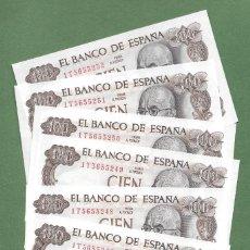 Billetes españoles: 1 BILLETE 100 PESETAS 1970 CON SERIE 1T S/C, RIGUROSA PLANCHA, DISPONIBLES 6 BILLETES CORRELATIVOS. Lote 243882620
