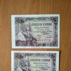 Billetes españoles: PAREJA BILLETES 1 PESETA BANCO ESPAÑA MADRID ISABEL LA CATÓLICA AÑO 1945 ESTADO ESPAÑOL SC. Lote 244018390
